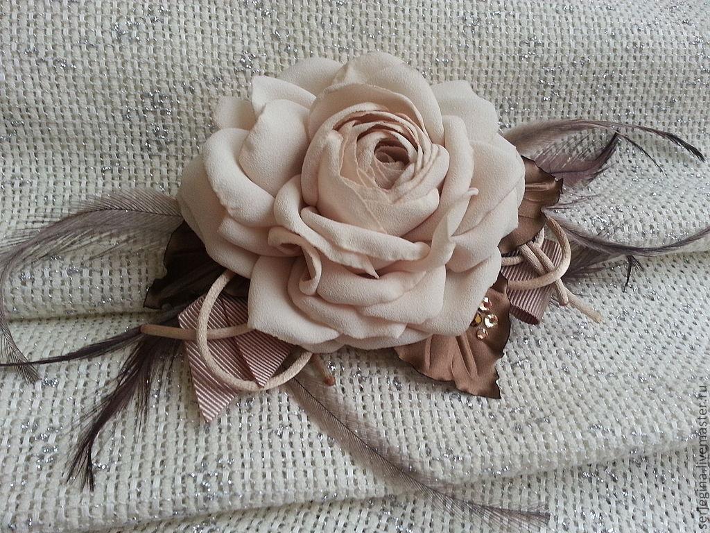 Как сделать брошь цветок из ткани