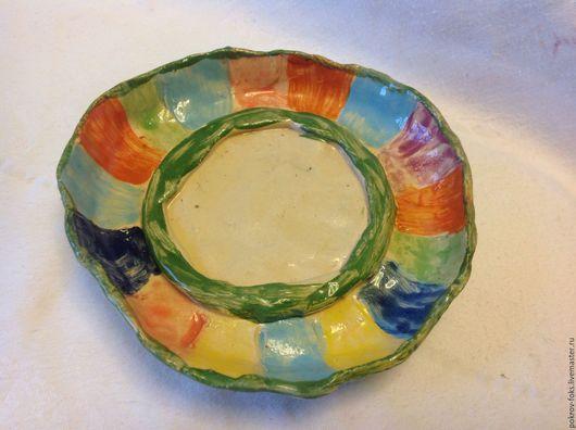 Ванная комната ручной работы. Ярмарка Мастеров - ручная работа. Купить Мыльница РАДУГА КРУГА, керамическая. Handmade. Разноцветный