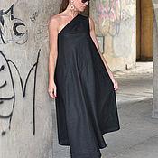 Одежда handmade. Livemaster - original item Long linen dress, Black dress - DR0236LE. Handmade.