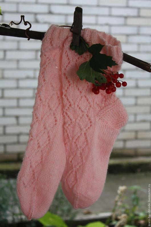 Носки, Чулки ручной работы. Ярмарка Мастеров - ручная работа. Купить Носки вязаные женские. Handmade. Бледно-розовый