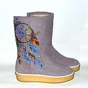 Обувь ручной работы. Ярмарка Мастеров - ручная работа Теплые зимние сапоги с росписью. Handmade.