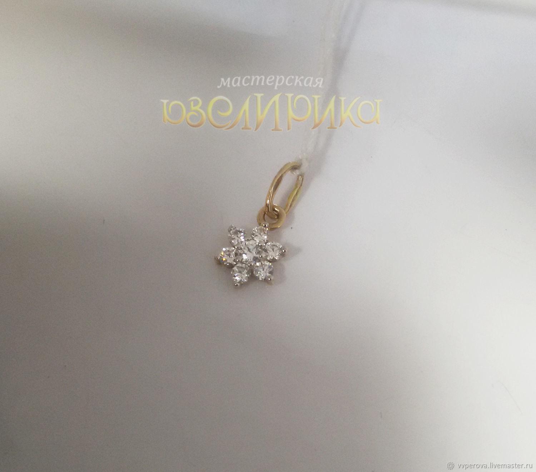 Кулон Цветок Золото 585 пробы Фианиты, Подвеска, Брянск,  Фото №1