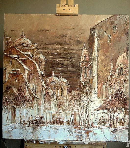 """Город ручной работы. Ярмарка Мастеров - ручная работа. Купить """"Огни большого города"""". Handmade. Венге, картина, ночь"""