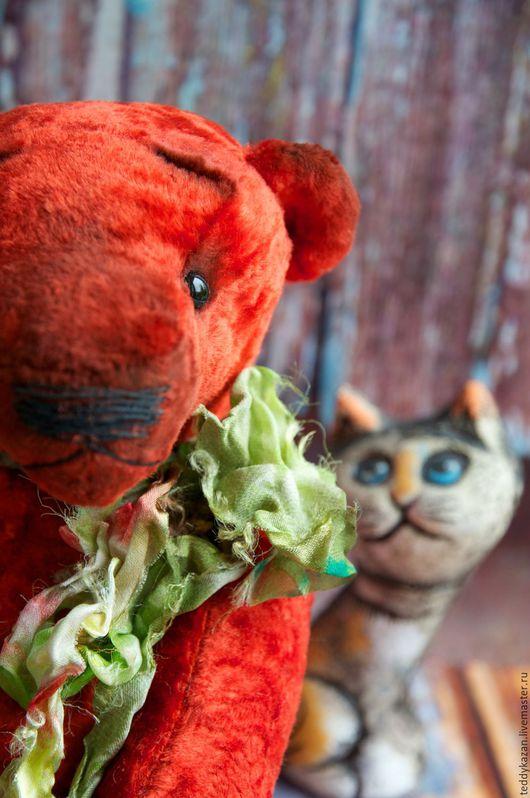 """Мишки Тедди ручной работы. Ярмарка Мастеров - ручная работа. Купить Тедди мишка """"С"""". Handmade. Ярко-красный, опилки"""