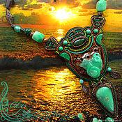 Украшения handmade. Livemaster - original item Green necklace tie Mint snail. Bright chrysoprase jade malachite. Handmade.