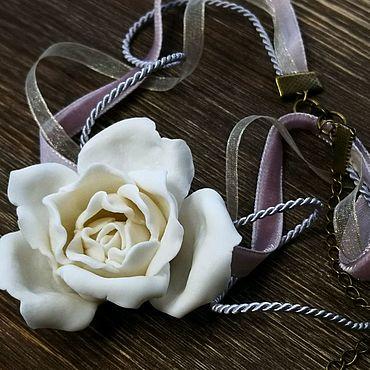 """Украшения ручной работы. Ярмарка Мастеров - ручная работа Колье """"Роза"""" из фарфора parian. Handmade."""