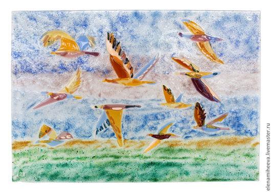 Фьюзинг. Панно полет птиц. Елена Михеева