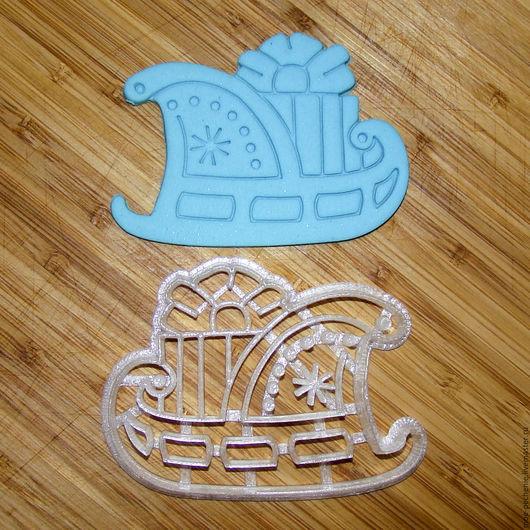 Сани с подарком. Вырубка-штамп для пряника, печенья, мастики, поделок из соленого теста.