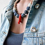 Украшения handmade. Livemaster - original item Beads with a pendant from the twigs of the coral SEA is CALLING. Handmade.