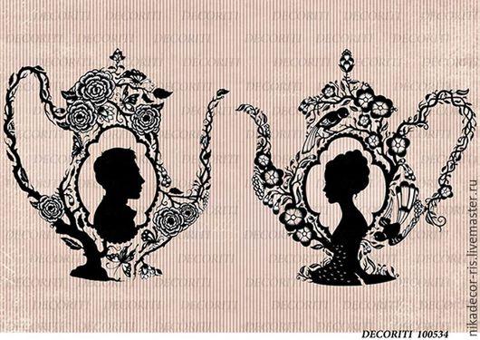 Декупаж и роспись ручной работы. Ярмарка Мастеров - ручная работа. Купить Цветочные чайники (D100534) - рисовая бумага, А4. Handmade.