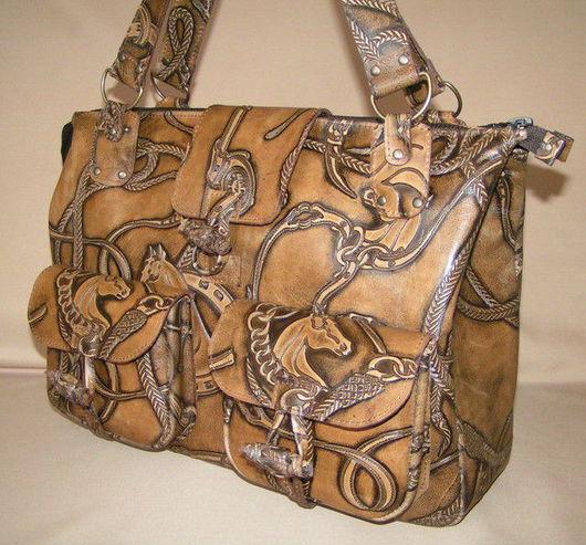 Женские сумки ручной работы. Ярмарка Мастеров - ручная работа. Купить Сумка с лошадками. Handmade. Сумка из натуральной кожи