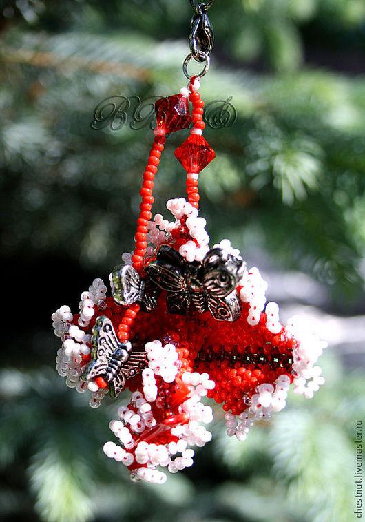 """Брелоки ручной работы. Ярмарка Мастеров - ручная работа. Купить Брелок """"Бабочки"""". Handmade. Подарок, брелок, красный, сувенир"""
