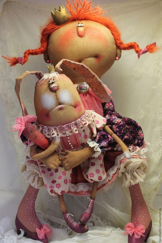 Коллекционные куклы ручной работы. Ярмарка Мастеров - ручная работа. Купить Принцесска и Зай с моркофкой!. Handmade. Комбинированный, ткань