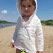 Рубашки ручной работы. Ярмарка Мастеров - ручная работа Рубашка пляжная для мальчика из льна. Handmade.