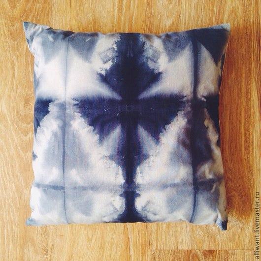 Текстиль, ковры ручной работы. Ярмарка Мастеров - ручная работа. Купить Подушка 40х40см. Handmade. Тёмно-синий, шибори