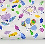 Материалы для творчества ручной работы. Ярмарка Мастеров - ручная работа 100% хлопок, Польша, фиолетовые цветы. Handmade.