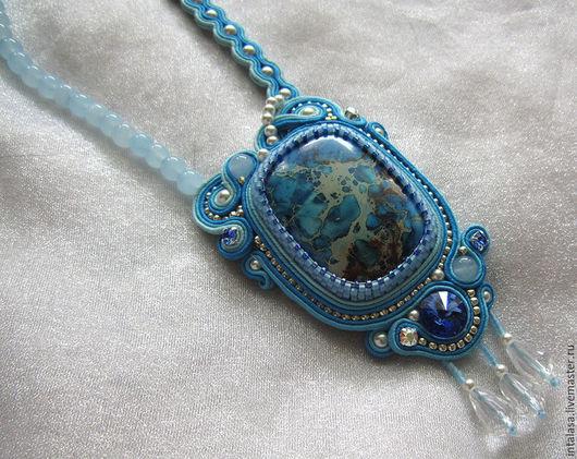 Сутажный кулон `Голубая мечта`