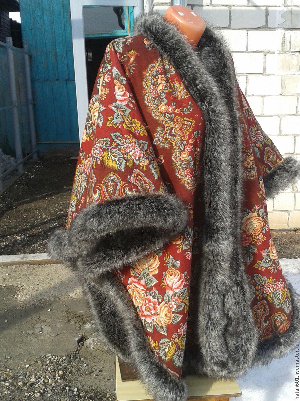 Пончо из платков и меха своими руками