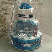 Сувениры и подарки handmade. Livemaster - original item Cake from diapers for the newborn. Handmade.