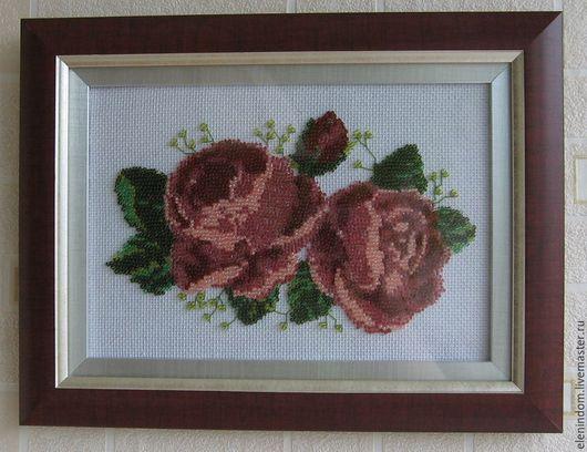 Картины цветов ручной работы. Ярмарка Мастеров - ручная работа. Купить Розы. Handmade. Розовый, Вышивка бисером, розы