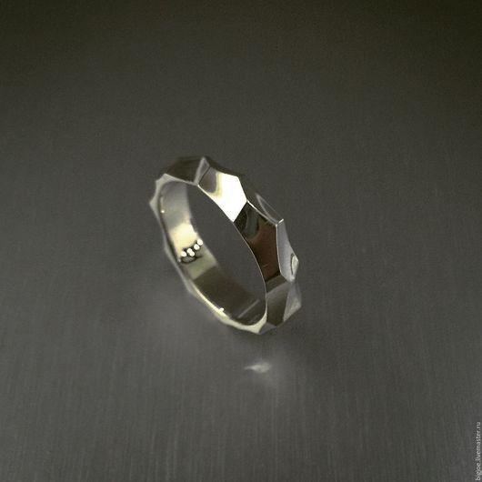 Кольца ручной работы. Заказать кольцо из серебра. Авторское кольцо. Необычное кольцо. BigJoe. Ярмарка Мастеров. Грани, серебро 925 пробы