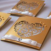 """Свадебный салон ручной работы. Ярмарка Мастеров - ручная работа Пригласительные """"Настоящая любовь """" Золото.. Handmade."""
