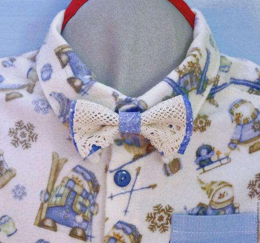 """Одежда для мальчиков, ручной работы. Ярмарка Мастеров - ручная работа. Купить Рубашка """"Зимние забавы"""" с кружевной бабочкой. Handmade."""