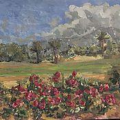 Картины и панно handmade. Livemaster - original item Landscape with roses. Handmade.