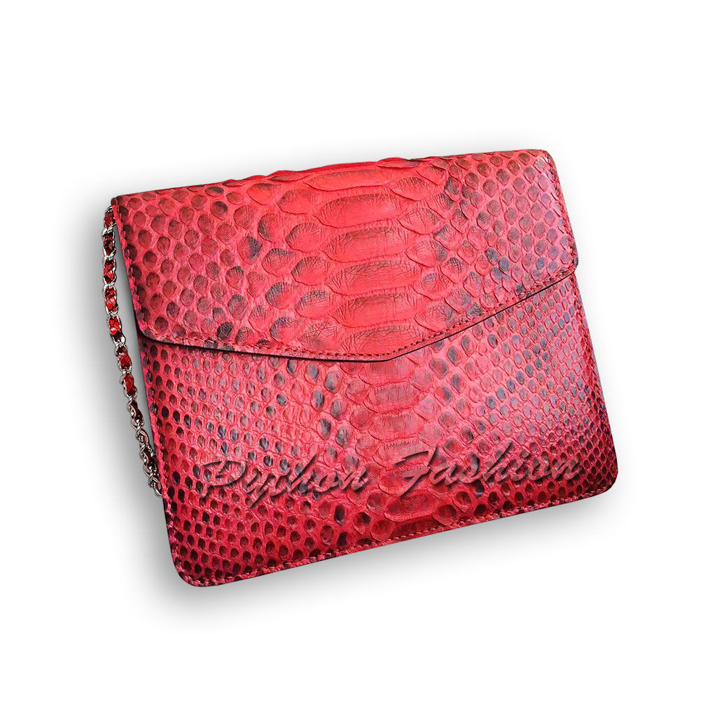 Clutch of Python. Women's clutch made of Python. The clutch is of Python with chain. Stylish clutch bag handmade. Evening clutch made of Python. Fashionable clutch bag made from Python. Bright clutch
