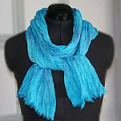 Аксессуары handmade. Livemaster - original item Linen turquoise scarf with lilac light long hand dyeing. Handmade.
