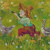 """Картины и панно ручной работы. Ярмарка Мастеров - ручная работа Картина """"два веселых гуся"""". Handmade."""