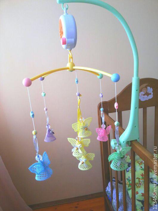"""Развивающие игрушки ручной работы. Ярмарка Мастеров - ручная работа. Купить Мобиль """"Цветные ангелы для ангелочка"""". Handmade. Комбинированный, кружево"""