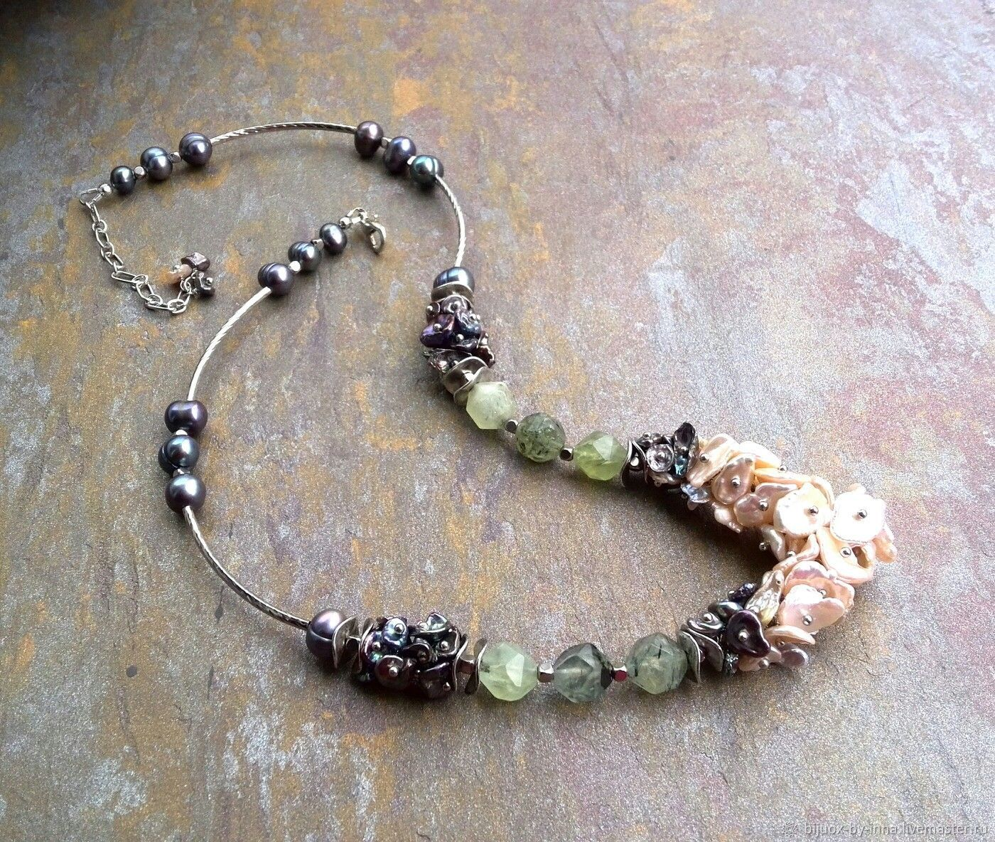 Necklace with prehnite and Keisha pearls. Natural Green Stone Necklace, Necklace, Permian,  Фото №1