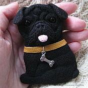 Украшения handmade. Livemaster - original item Felted portrait brooch Pug. Handmade.