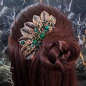 Украшения handmade. Livemaster - original item Comb for hair with stones and leaves green
