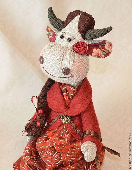 """Игрушки животные, ручной работы. Ярмарка Мастеров - ручная работа. Купить Коровушка """"Кокетка"""". Handmade. Коровка, корова, шерстяной фетр"""