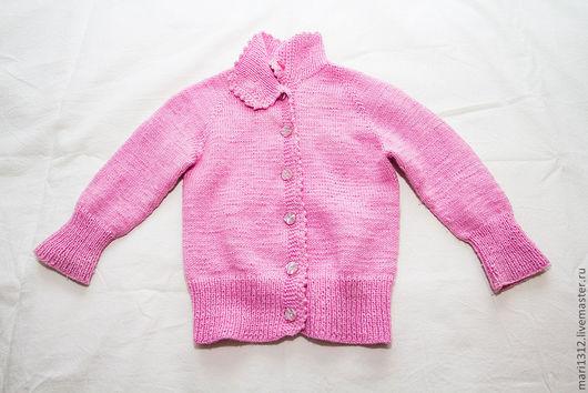 Кофты и свитера ручной работы. Ярмарка Мастеров - ручная работа. Купить Кофта весна - осень на пуговицах для девочки. Handmade. Розовый