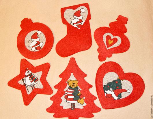 Шитье ручной работы. Ярмарка Мастеров - ручная работа. Купить Набор для шитья новогодних игрушек из фетра (красные). Handmade.