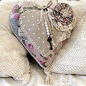 Для дома и интерьера ручной работы. Ярмарка Мастеров - ручная работа Подушка-сердце декоративная  Розовый винтаж. Handmade.