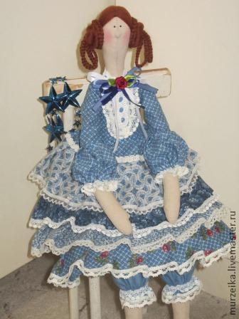 Куклы Тильды ручной работы. Ярмарка Мастеров - ручная работа. Купить Тильда кукла Мелани. Handmade. Синий, оборки, кружева