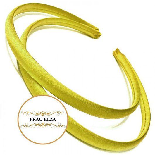 Для украшений ручной работы. Ярмарка Мастеров - ручная работа. Купить Ободок сатиновый 7 мм - желтый. Handmade.