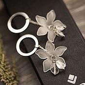 Украшения handmade. Livemaster - original item Silver flower earrings #geometry 3. Handmade.