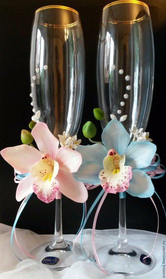 Свадебные аксессуары ручной работы. Ярмарка Мастеров - ручная работа. Купить Королевские орхидеи. Handmade. Комбинированный, бокалы для свадьбы