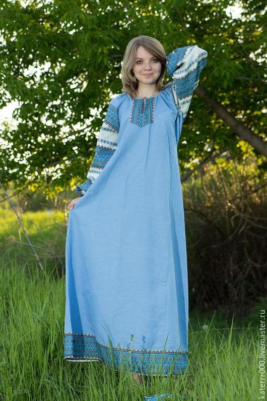 """Одежда ручной работы. Ярмарка Мастеров - ручная работа. Купить Платье """"Этно"""" голубое. Handmade. Голубой, этно, лён"""