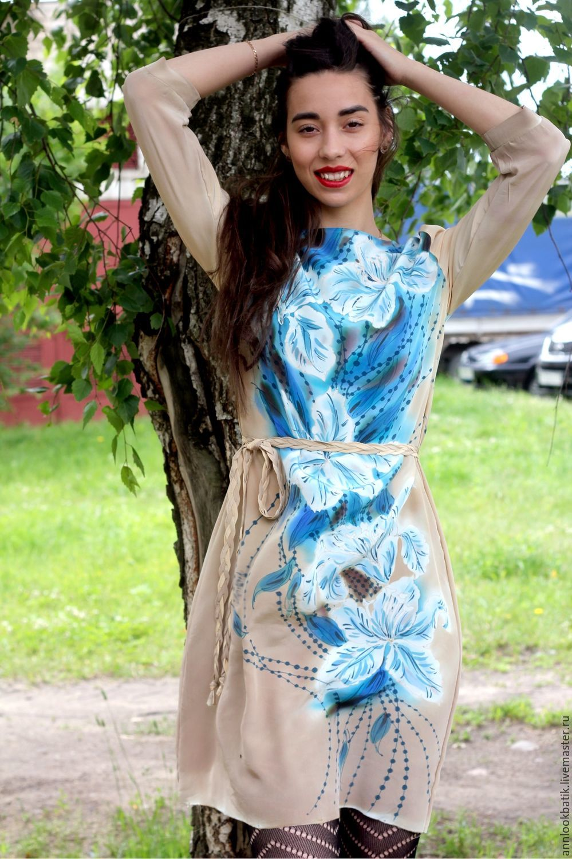 Платья ручной работы. Ярмарка Мастеров - ручная работа. Купить Глядя в небеса. Handmade. Батик, шелковое платье