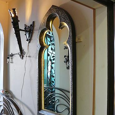 Для дома и интерьера ручной работы. Ярмарка Мастеров - ручная работа Кованое зеркало Готика с подсветкой. Handmade.