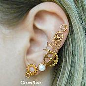 Украшения handmade. Livemaster - original item Earcuff Gold Plated Cuffa with Pearl Single Earring Steampunk Earrings. Handmade.