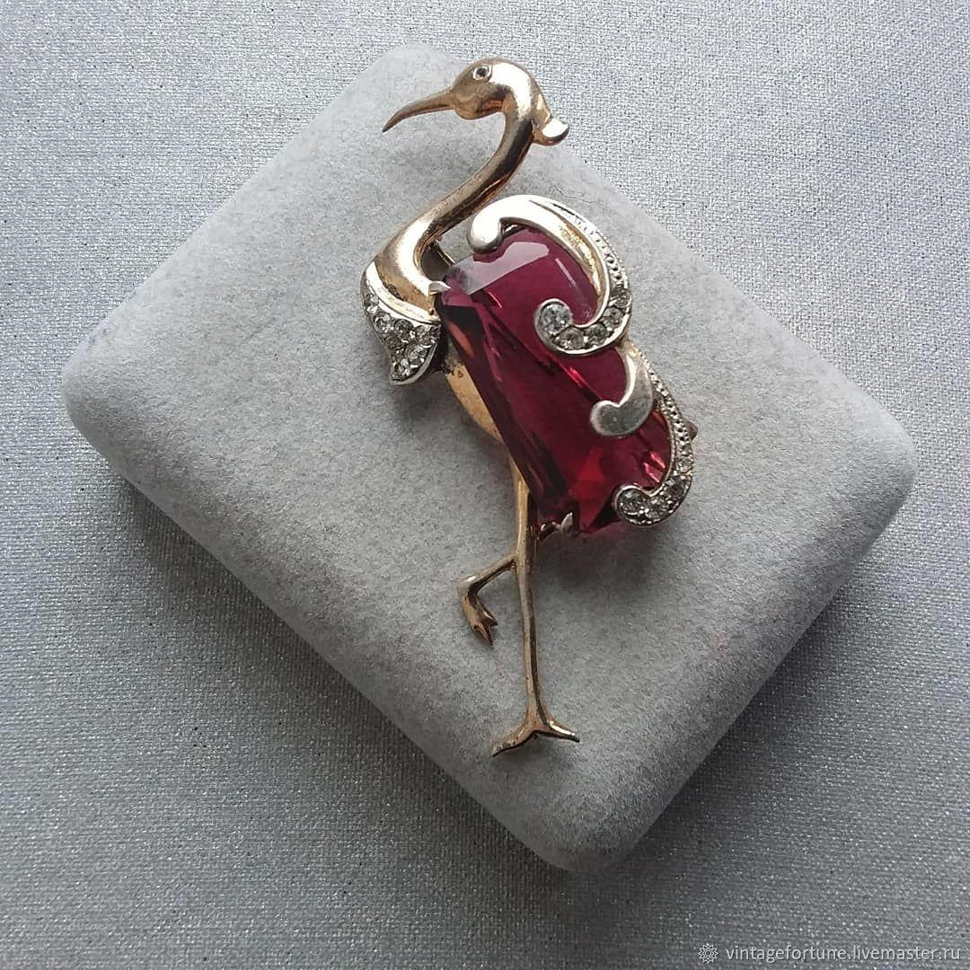 Silver Vintage Heron Brooch 1940s, Vintage brooches, St. Petersburg,  Фото №1
