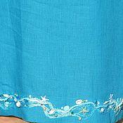 """Одежда ручной работы. Ярмарка Мастеров - ручная работа Пляжное льняное платье-туника """" Море"""" 2. Handmade."""