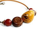 Украшения ручной работы. Ярмарка Мастеров - ручная работа Колье-чокер на кожаном шнуре с орехом тагуа, дерево, сердолик,желтый. Handmade.